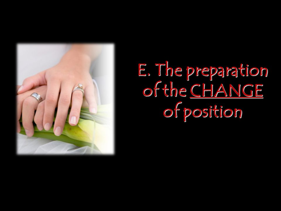 E. The preparation of the CHANGE of position
