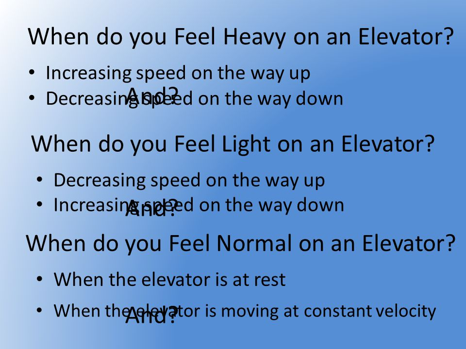 When do you Feel Heavy on an Elevator? Increasing speed on the way up When do you Feel Light on an Elevator? Decreasing speed on the way up When do yo