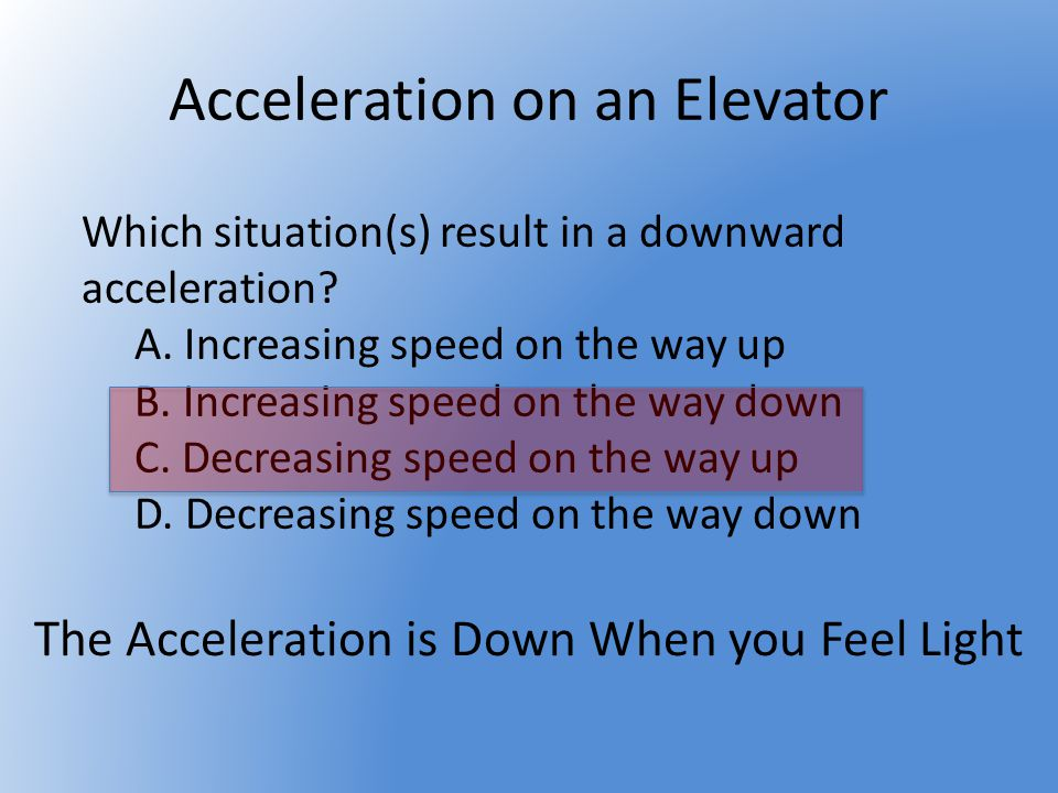 Elevator moving at constant velocity Increasing speed on the way up Elevator at Rest Match the descriptions below to the numbered regions on the acceleration Vs time graph from an elevator ride, assume the elevator started from rest Decreasing speed on the way down Decreasing speed on the way up Increasing speed on the way down 1 2 34 5 6 7 8 9 4 5 3 2 8 6 19 7