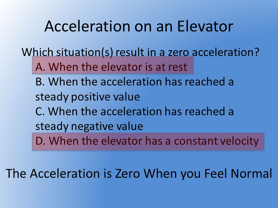 Elevator Lab You will be given Force Vs Time data for mass on a force sensor riding the elevator at the Pruneyard Towers Use Newtons 2 nd Law to determine the acceleration Vs Time graph Use kinematics to determine the velocity and position graphs Knowing that the elevator started at rest on floor 1, determine the floors it stopped at Follow Directions!!!