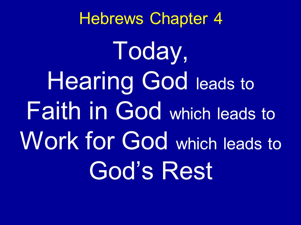 Hebrews Chapter 4 Today, Hearing God leads to Faith in God which leads to Work for God which leads to Gods Rest
