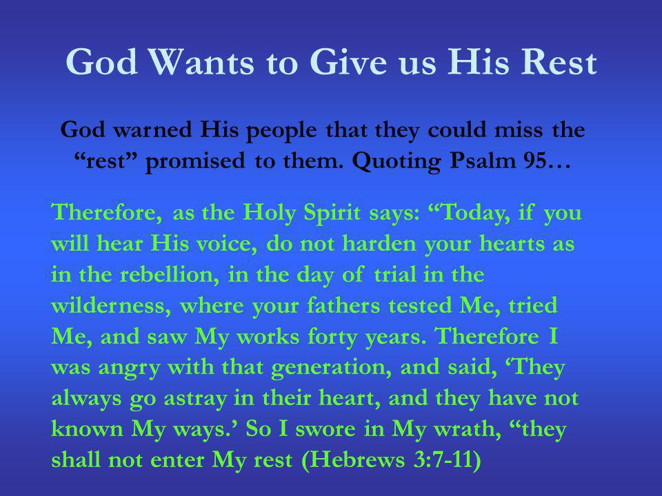 The Rest: What it is Not It is Only Through Christ The question remains, will you enter Gods promised rest?