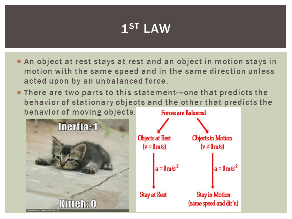 An object at rest stays at rest and an object in motion stays in motion with the same speed and in the same direction unless acted upon by an unbalanced force.