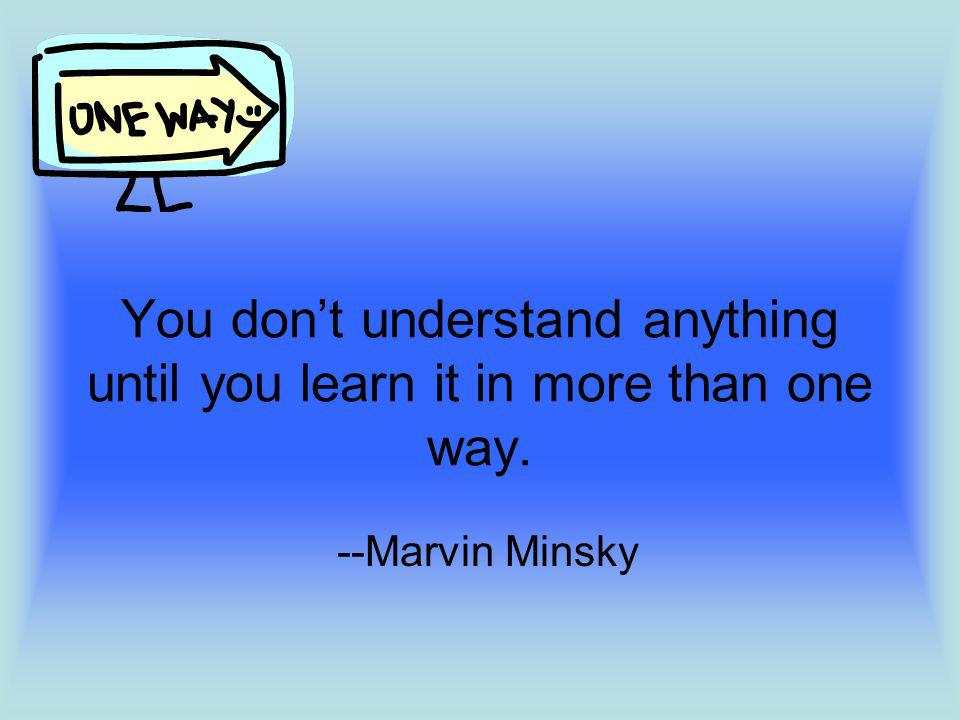 You dont understand anything until you learn it in more than one way. --Marvin Minsky