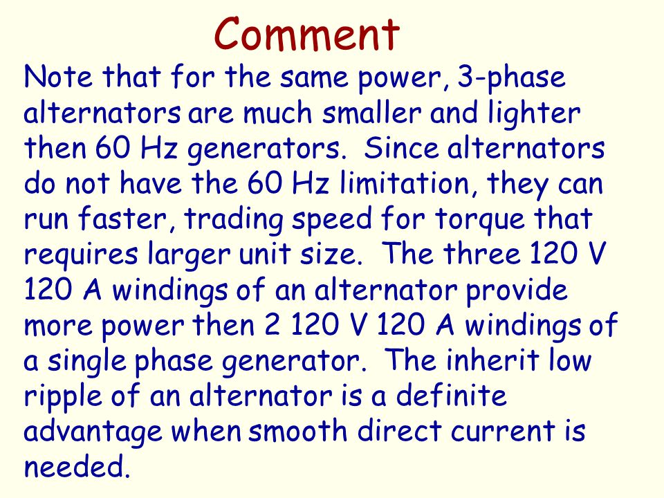 Comment Note that for the same power, 3-phase alternators are much smaller and lighter then 60 Hz generators. Since alternators do not have the 60 Hz