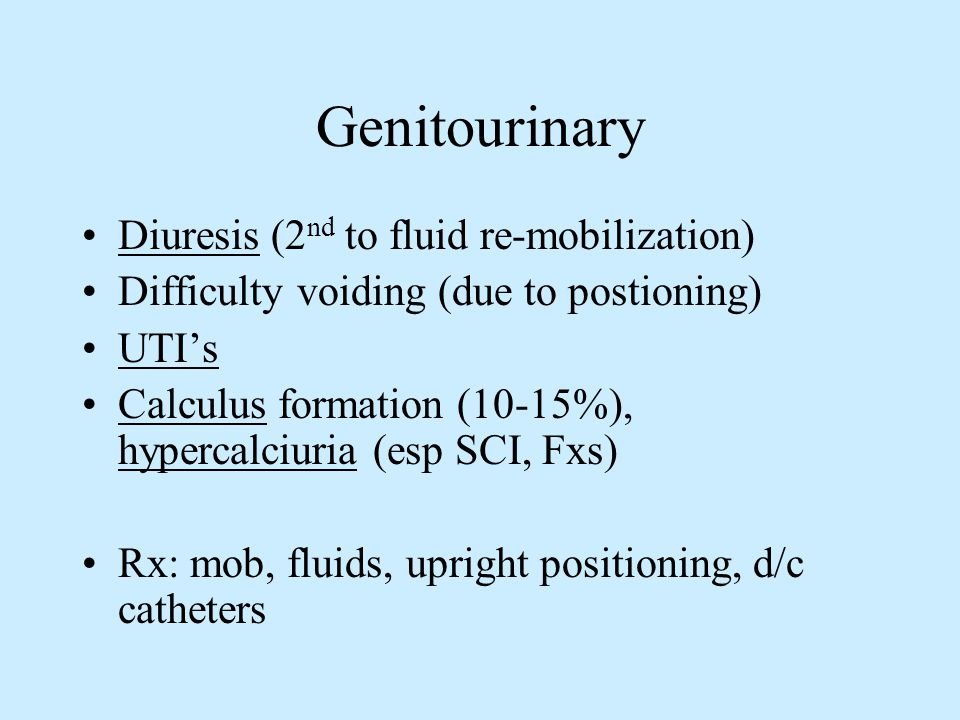 Genitourinary Diuresis (2 nd to fluid re-mobilization) Difficulty voiding (due to postioning) UTIs Calculus formation (10-15%), hypercalciuria (esp SC