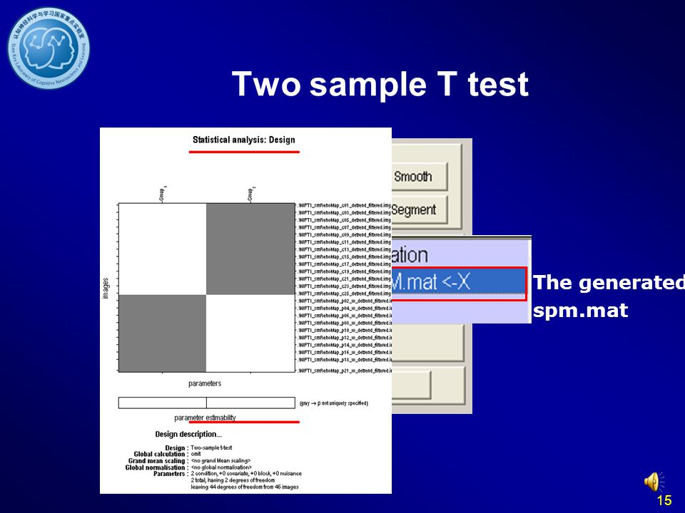 15 The generated spm.mat Two sample T test