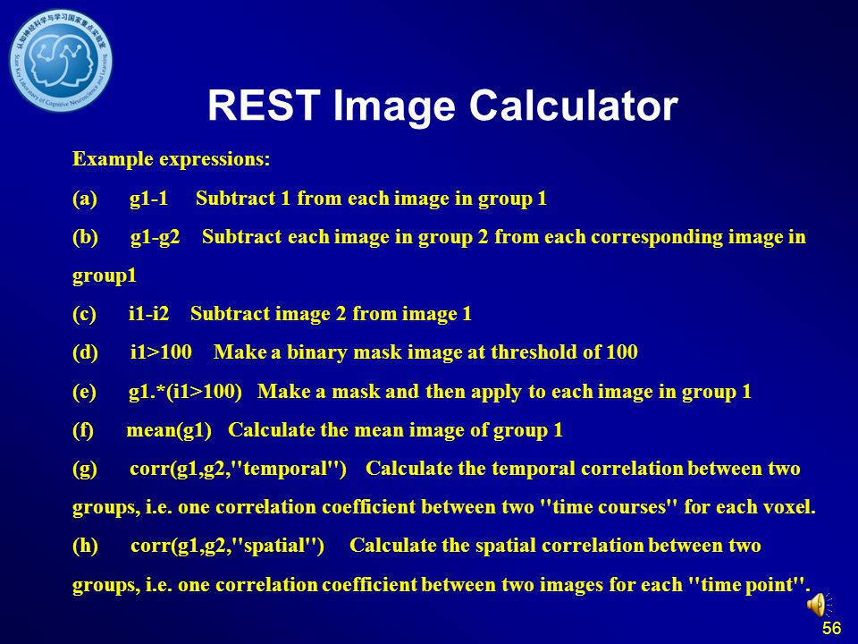 56 REST Image Calculator Example expressions: (a) g1-1 Subtract 1 from each image in group 1 (b) g1-g2 Subtract each image in group 2 from each corres