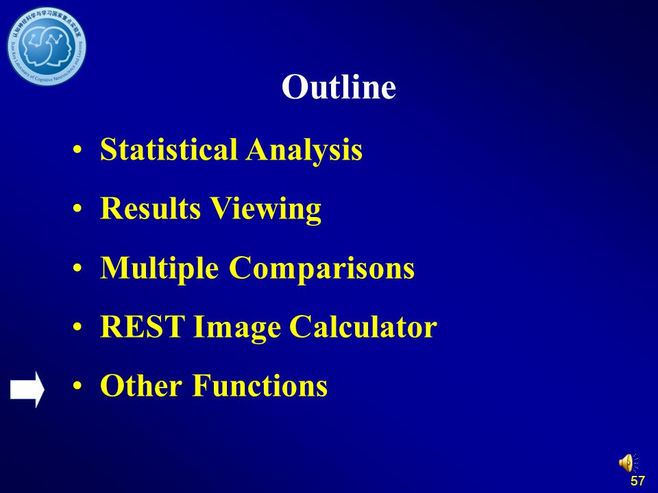 57 Outline Statistical Analysis Results Viewing Multiple Comparisons REST Image Calculator Other Functions