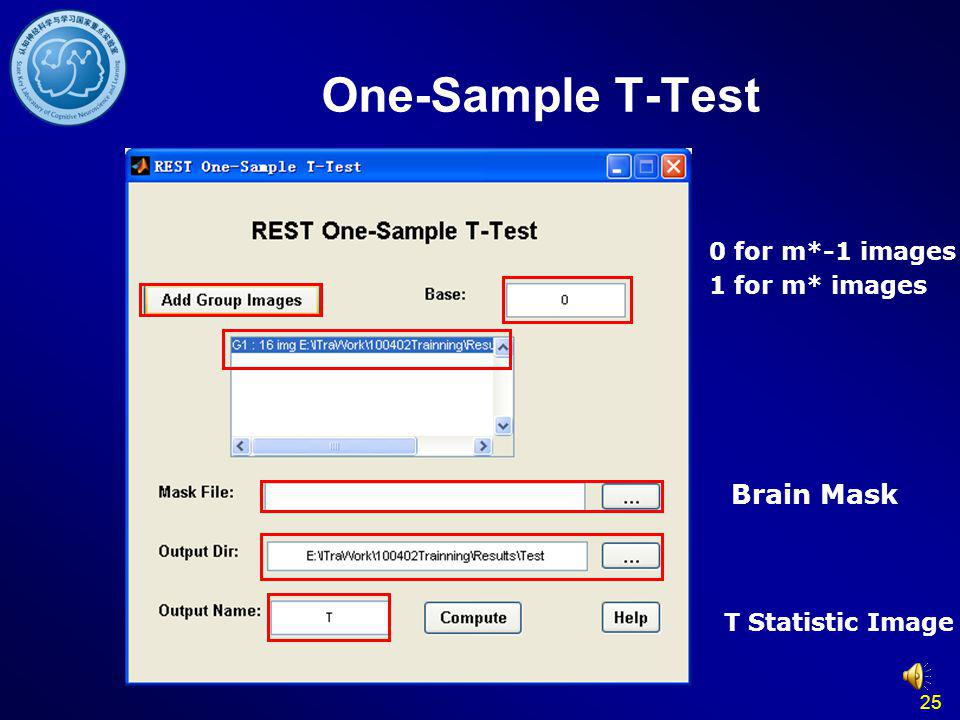 25 One-Sample T-Test 0 for m*-1 images 1 for m* images T Statistic Image Brain Mask