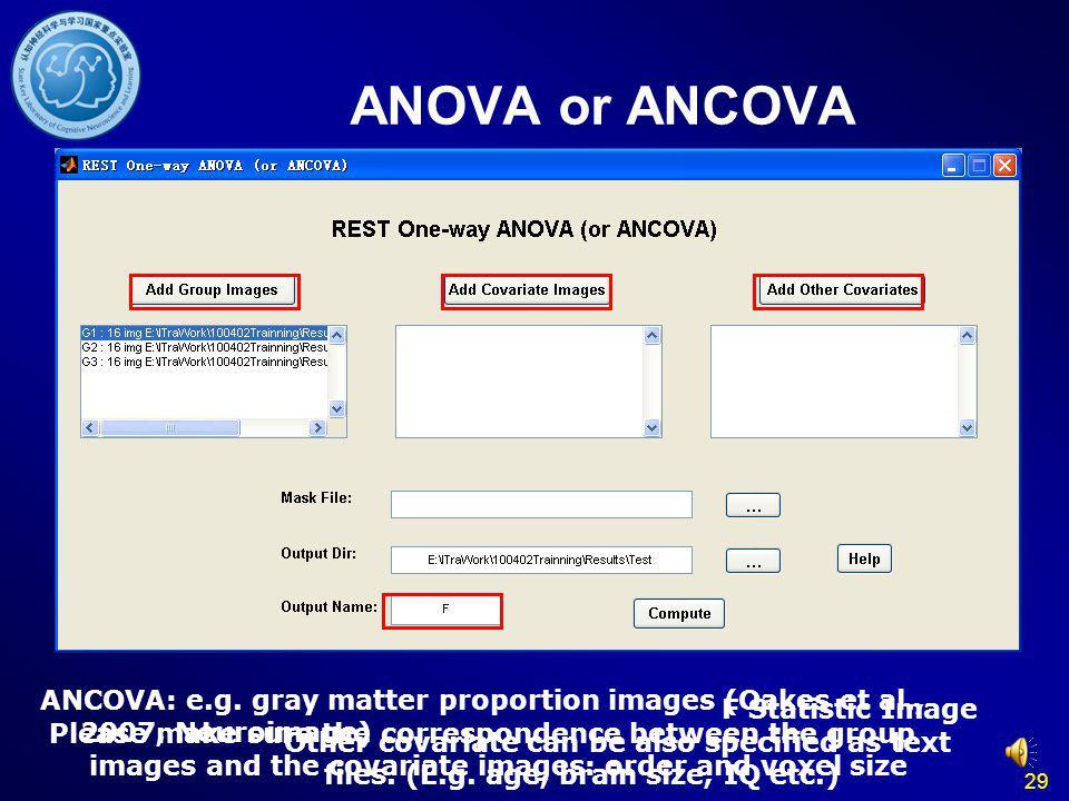 29 ANOVA or ANCOVA ANCOVA: e.g.