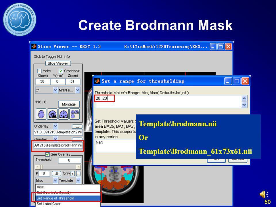 50 Create Brodmann Mask Template\brodmann.nii Or Template\Brodmann_61x73x61.nii