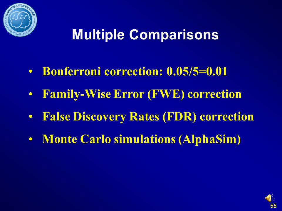 55 Multiple Comparisons Bonferroni correction: 0.05/5=0.01 Family-Wise Error (FWE) correction False Discovery Rates (FDR) correction Monte Carlo simul