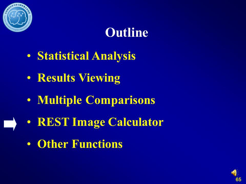 65 Outline Statistical Analysis Results Viewing Multiple Comparisons REST Image Calculator Other Functions