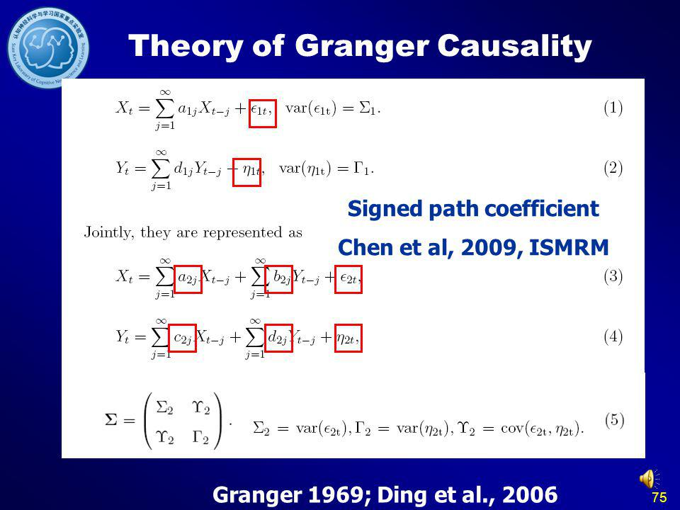 75 Theory of Granger Causality Granger 1969; Ding et al., 2006 Signed path coefficient Chen et al, 2009, ISMRM