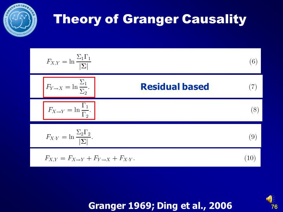 76 Theory of Granger Causality Granger 1969; Ding et al., 2006 Residual based