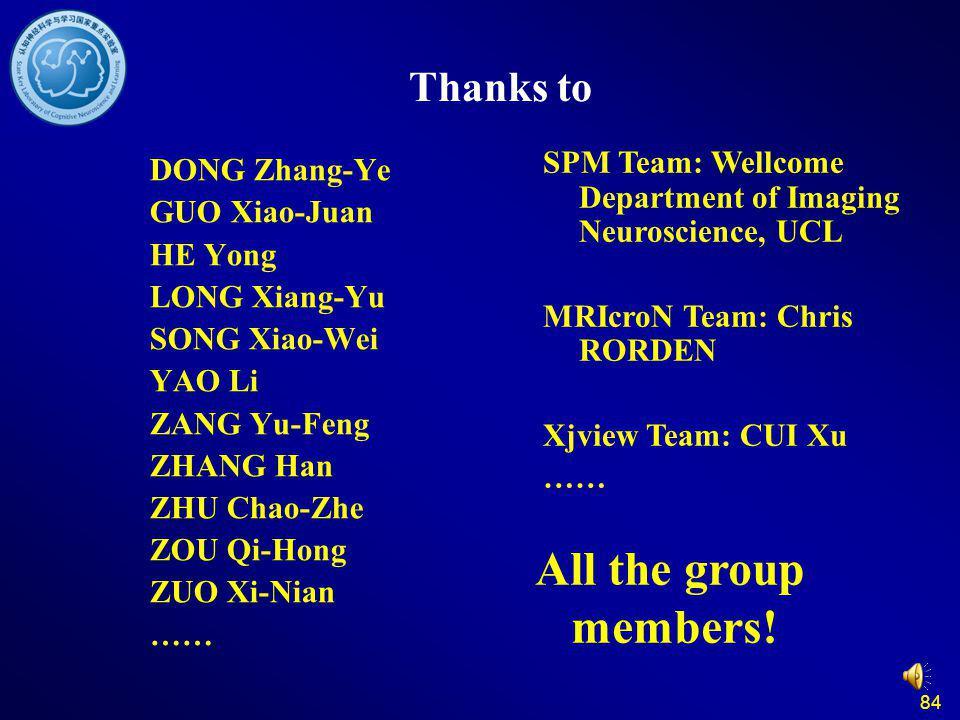 84 Thanks to DONG Zhang-Ye GUO Xiao-Juan HE Yong LONG Xiang-Yu SONG Xiao-Wei YAO Li ZANG Yu-Feng ZHANG Han ZHU Chao-Zhe ZOU Qi-Hong ZUO Xi-Nian …… All the group members.