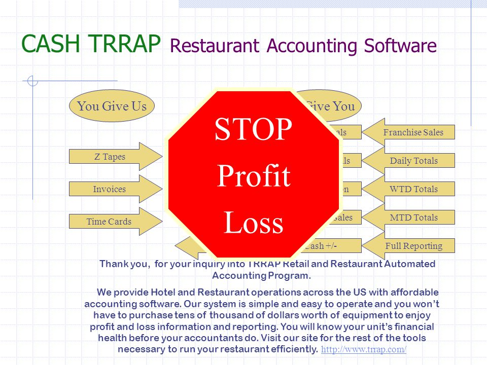 CASH TRRAP Restaurant Accounting Software Our team is made up of restaurant managers and owners just like you.
