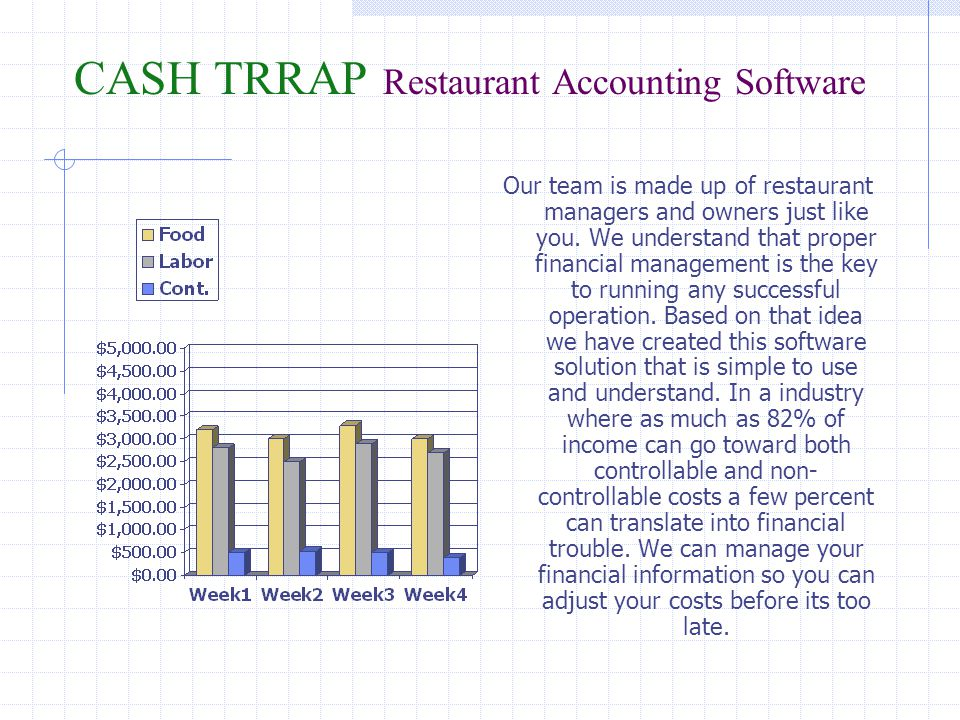 CASH TRRAP Restaurant Accounting Software The reports process provides a wealth Of valuable Profit and Loss Information with Minimal input.