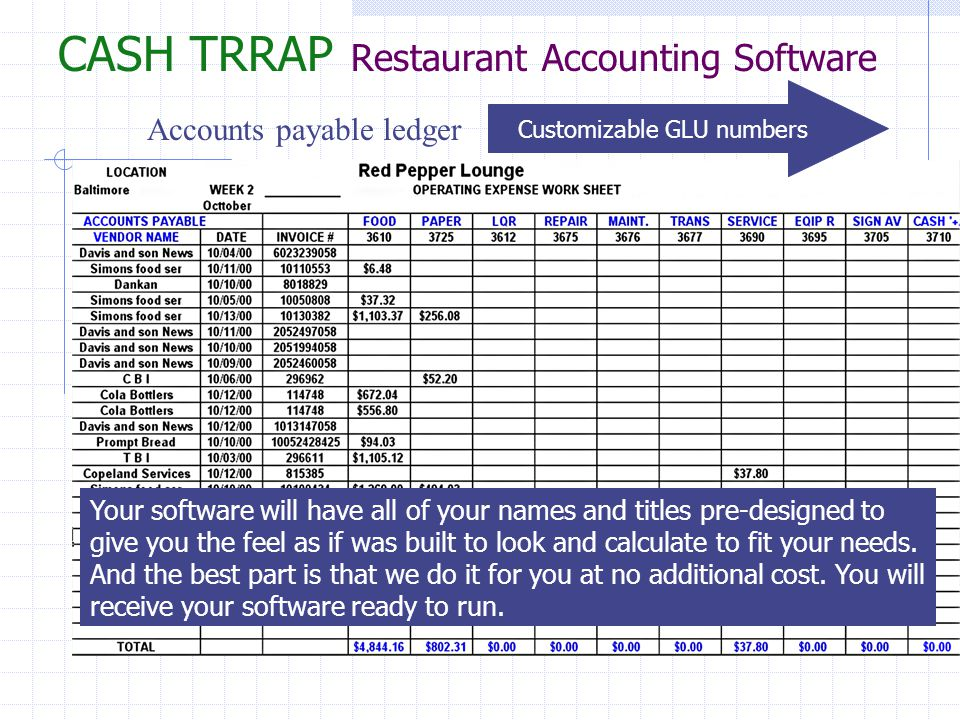 Accounts payable ledger Your software will have all of your names and titles pre-designed to give you the feel as if was built to look and calculate t