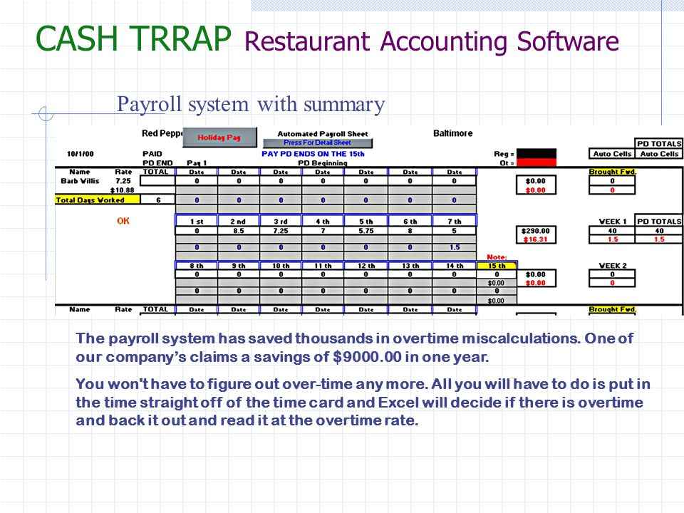 CASH TRRAP Restaurant Accounting Software Payroll summary (While this feature is intended for budgetary use only, many customers have chosen to use it as a full payroll reporting system.) Tip reporting, Employee meals, Reg./OT hours Holiday pay, Labor Totals and Percentages.