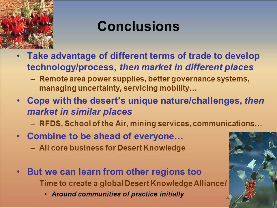 10 Conclusions Take advantage of different terms of trade to develop technology/process, then market in different places –Remote area power supplies, better governance systems, managing uncertainty, servicing mobility… Cope with the deserts unique nature/challenges, then market in similar places –RFDS, School of the Air, mining services, communications… Combine to be ahead of everyone… –All core business for Desert Knowledge But we can learn from other regions too –Time to create a global Desert Knowledge Alliance.