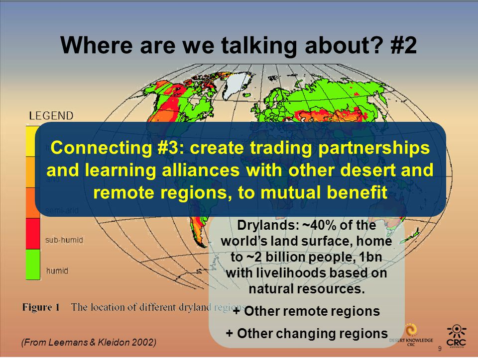 9 Where are we talking about? #2 (From Leemans & Kleidon 2002) Drylands: ~40% of the worlds land surface, home to ~2 billion people, 1bn with liveliho