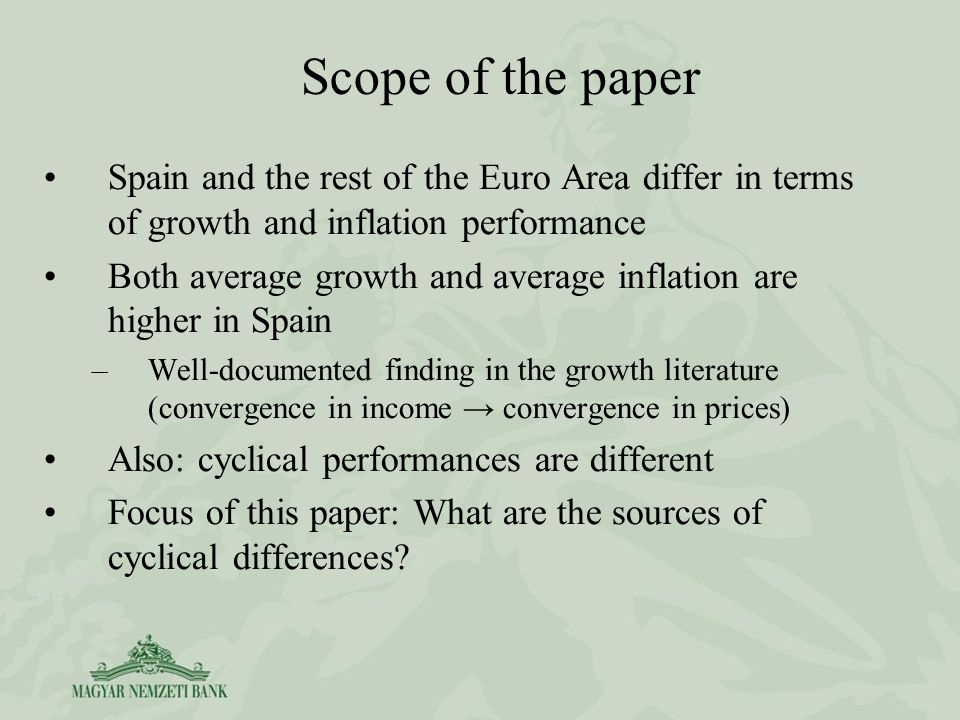 Spain and the rest of the Euro Area differ in terms of growth and inflation performance Both average growth and average inflation are higher in Spain –Well-documented finding in the growth literature (convergence in income convergence in prices) Also: cyclical performances are different Focus of this paper: What are the sources of cyclical differences.