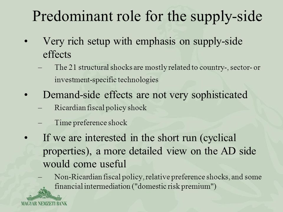 Very rich setup with emphasis on supply-side effects –The 21 structural shocks are mostly related to country-, sector- or investment-specific technologies Demand-side effects are not very sophisticated –Ricardian fiscal policy shock –Time preference shock If we are interested in the short run (cyclical properties), a more detailed view on the AD side would come useful –Non-Ricardian fiscal policy, relative preference shocks, and some financial intermediation ( domestic risk premium ) Predominant role for the supply-side