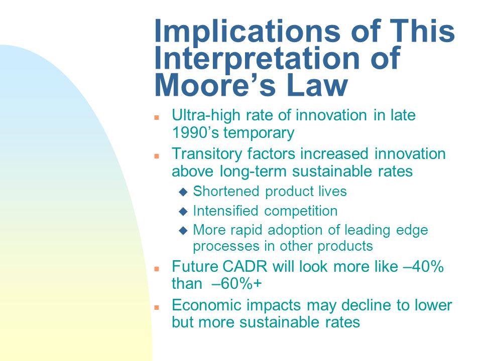 Implications of This Interpretation of Moores Law n Ultra-high rate of innovation in late 1990s temporary n Transitory factors increased innovation above long-term sustainable rates u Shortened product lives u Intensified competition u More rapid adoption of leading edge processes in other products n Future CADR will look more like –40% than –60%+ n Economic impacts may decline to lower but more sustainable rates