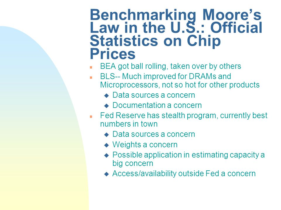 Benchmarking Moores Law in the U.S.: Official Statistics on Chip Prices n BEA got ball rolling, taken over by others n BLS-- Much improved for DRAMs and Microprocessors, not so hot for other products u Data sources a concern u Documentation a concern n Fed Reserve has stealth program, currently best numbers in town u Data sources a concern u Weights a concern u Possible application in estimating capacity a big concern u Access/availability outside Fed a concern