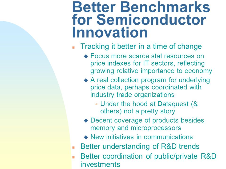 Better Benchmarks for Semiconductor Innovation n Tracking it better in a time of change u Focus more scarce stat resources on price indexes for IT sectors, reflecting growing relative importance to economy u A real collection program for underlying price data, perhaps coordinated with industry trade organizations F Under the hood at Dataquest (& others) not a pretty story u Decent coverage of products besides memory and microprocessors u New initiatives in communications n Better understanding of R&D trends n Better coordination of public/private R&D investments