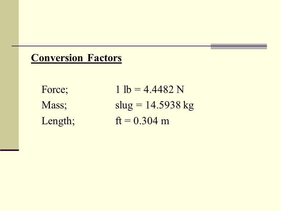 Conversion Factors Force;1 lb = 4.4482 N Mass;slug = 14.5938 kg Length;ft = 0.304 m