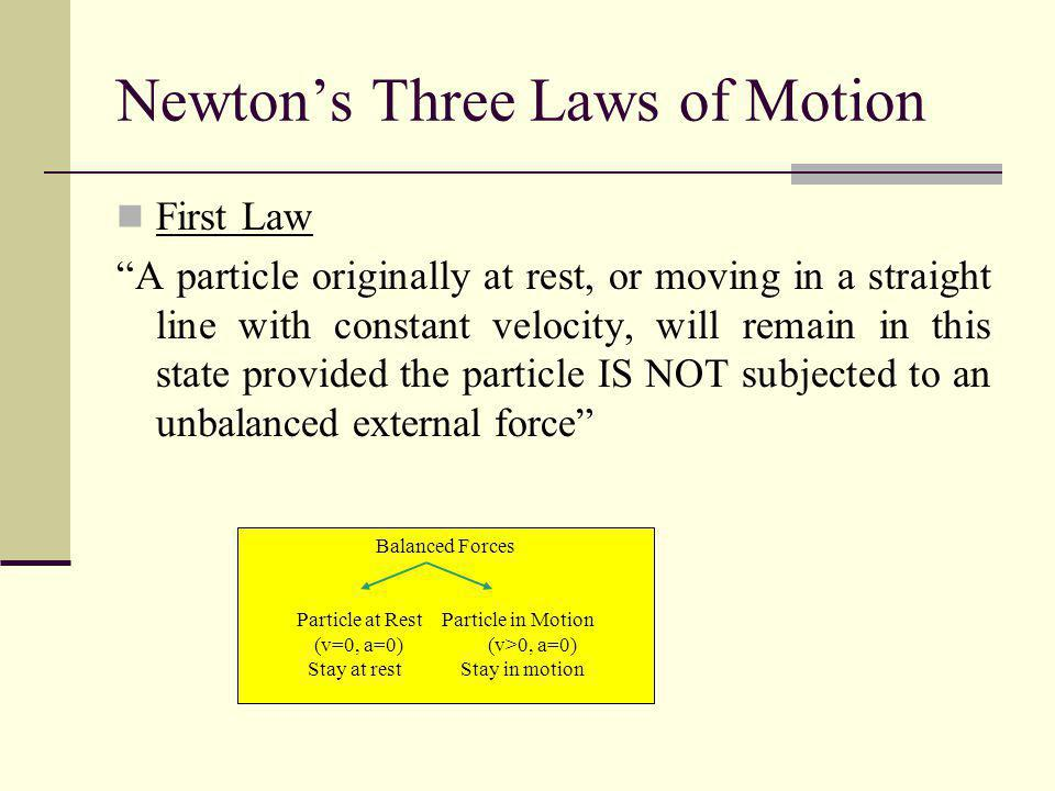 Newtons Three Laws of Motion First Law A particle originally at rest, or moving in a straight line with constant velocity, will remain in this state p
