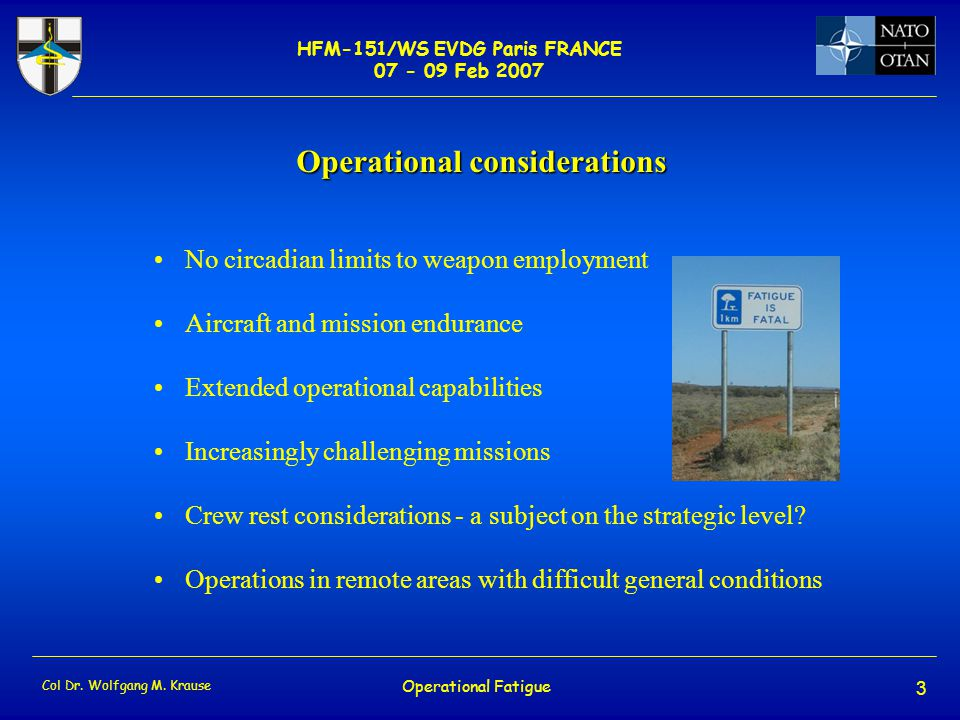 HFM-151/WS EVDG Paris FRANCE 07 - 09 Feb 2007 Col Dr.