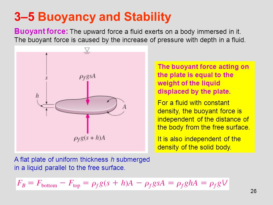 26 3–5 Buoyancy and Stability Buoyant force: The upward force a fluid exerts on a body immersed in it. The buoyant force is caused by the increase of