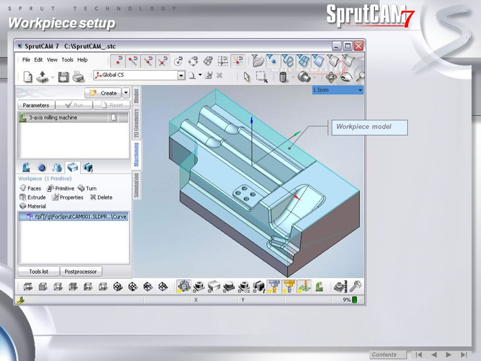 Workpiece setup Workpiece parameters tab Create workpiece by extruding a closed curve Top and bottom levels of the workpiece Workpiece contours closed curve Workpiece contour Workpiece model Contents
