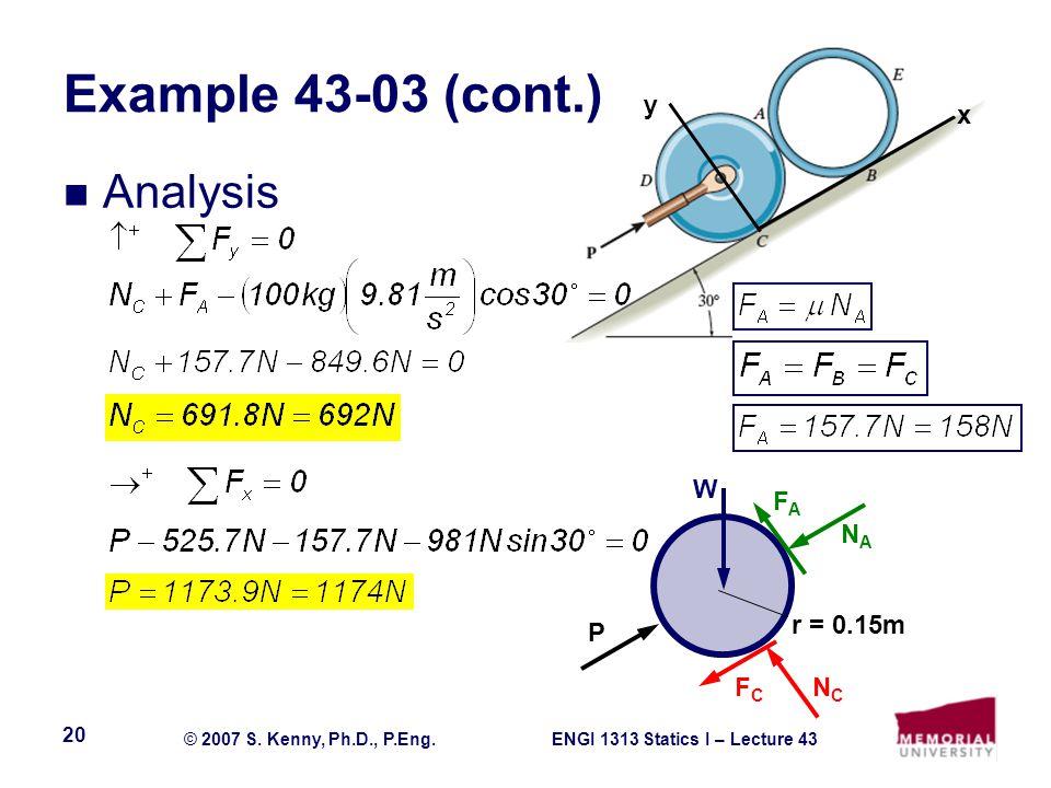ENGI 1313 Statics I – Lecture 43© 2007 S. Kenny, Ph.D., P.Eng. 20 Example 43-03 (cont.) Analysis FAFA NANA NCNC FCFC P W r = 0.15m x y