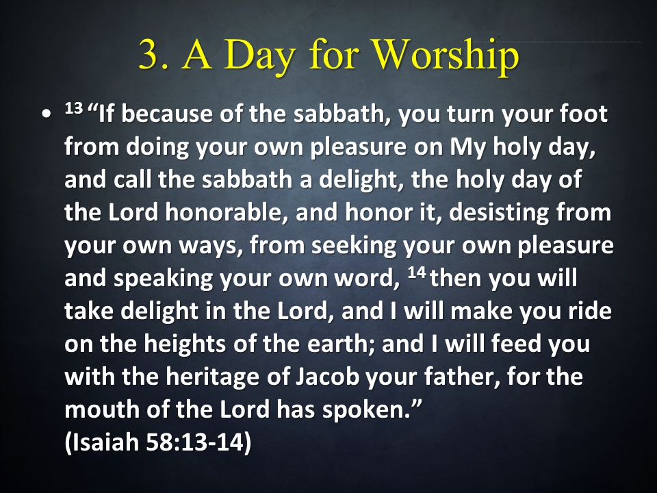 3. A Day for Worship 13 If because of the sabbath, you turn your foot from doing your own pleasure on My holy day, and call the sabbath a delight, the
