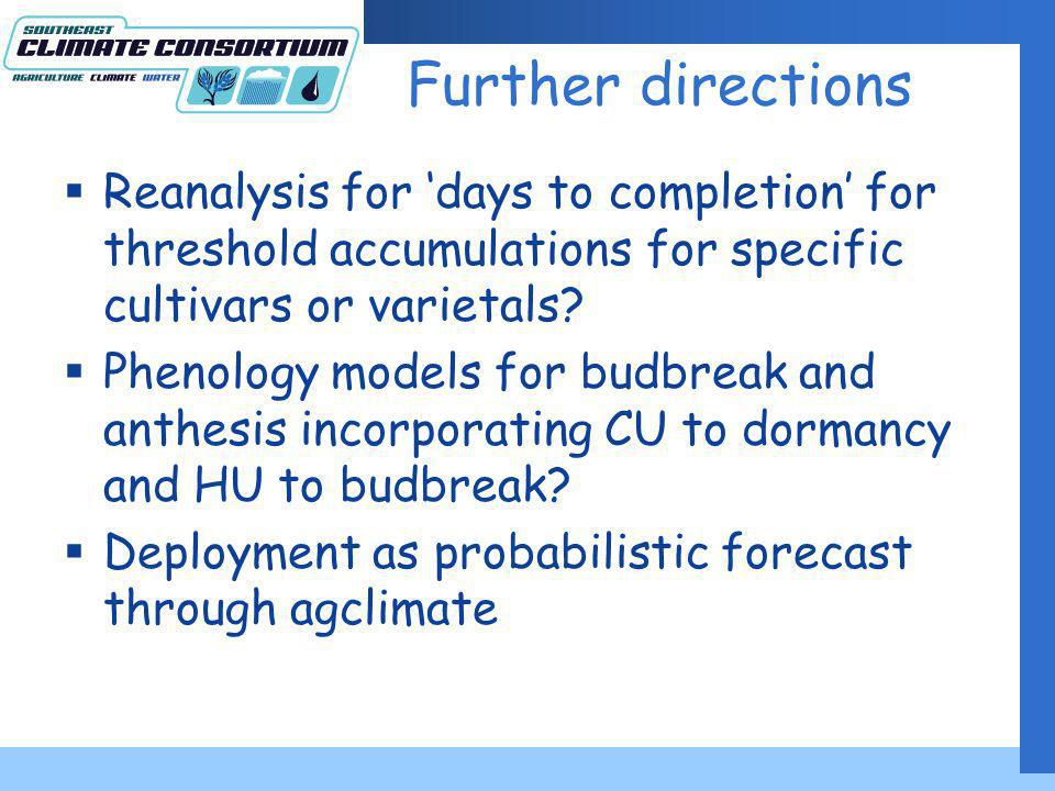 Further directions Reanalysis for days to completion for threshold accumulations for specific cultivars or varietals.