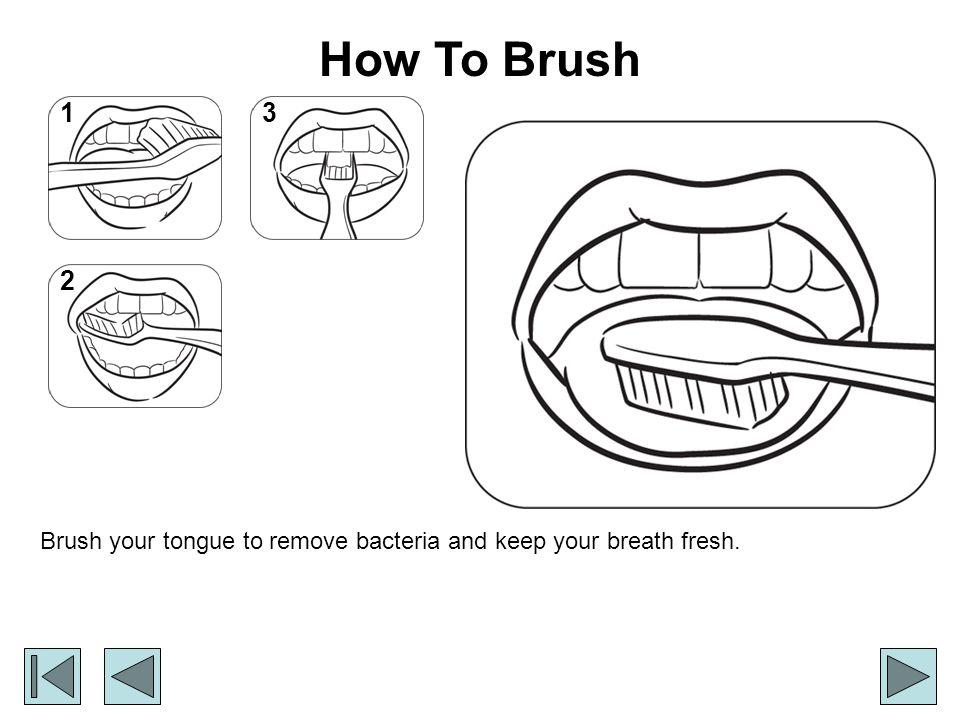How To Brush Brush your tongue to remove bacteria and keep your breath fresh. 1 2 3