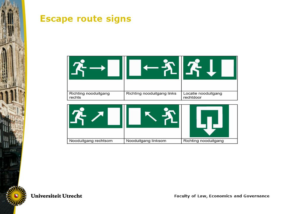 Escape route signs Faculty of Law, Economics and Governance
