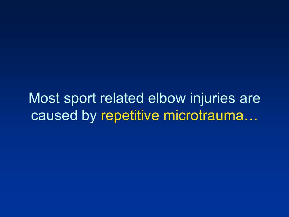 Most sport related elbow injuries are caused by repetitive microtrauma…