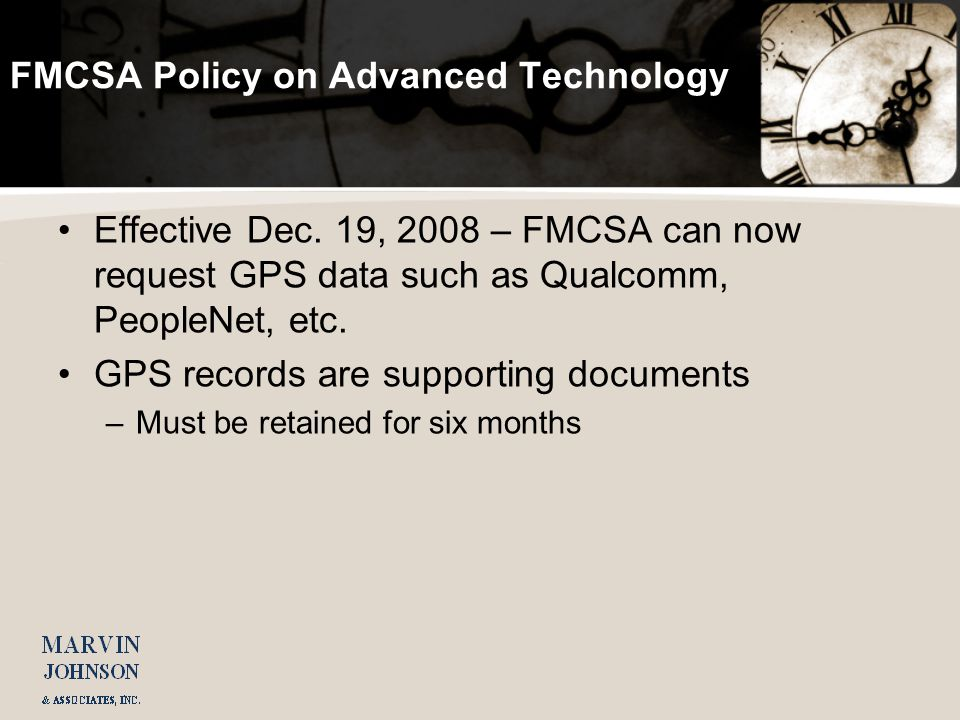 FMCSA Policy on Advanced Technology Effective Dec.