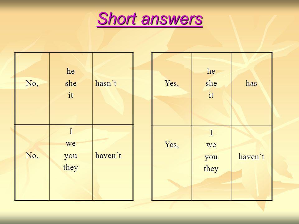 Short answers No,hesheithasn´t No,Iweyoutheyhaven´tYes,hesheithasYes,Iweyoutheyhaven´t