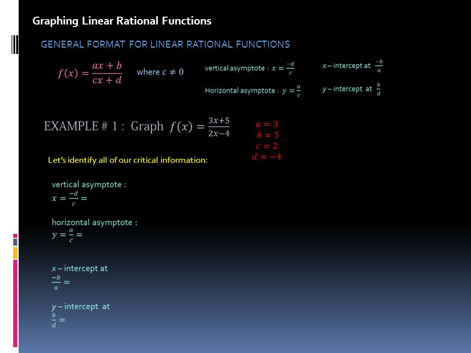 Graphing Linear Rational Functions GENERAL FORMAT FOR LINEAR RATIONAL FUNCTIONS Lets identify all of our critical information: