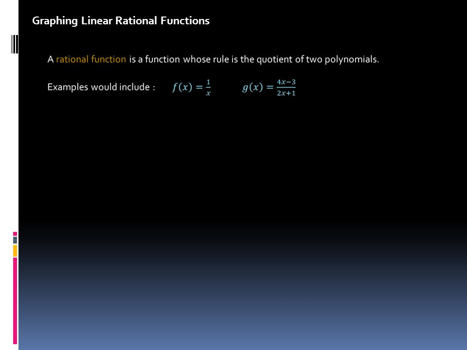 Graphing Linear Rational Functions