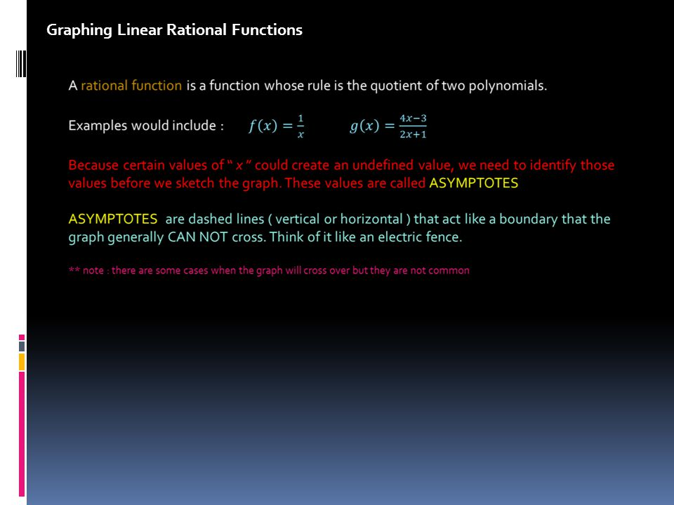 GENERAL FORMAT FOR LINEAR RATIONAL FUNCTIONS