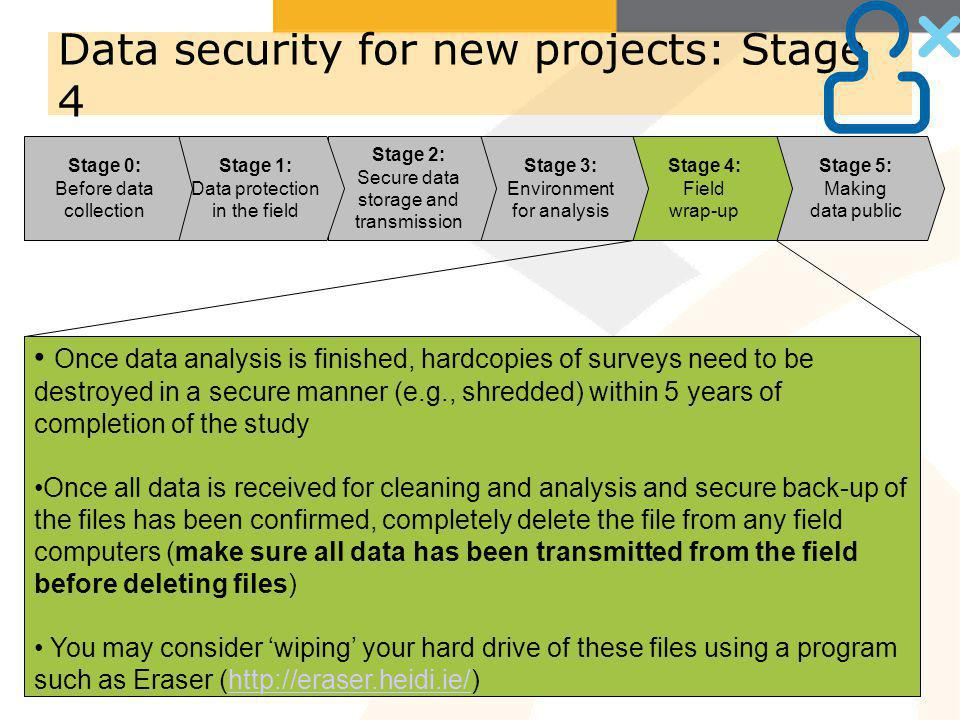 Stage 5: Making data public Stage 4: Field wrap-up Stage 3: Environment for analysis Stage 2: Secure data storage and transmission Data security for n