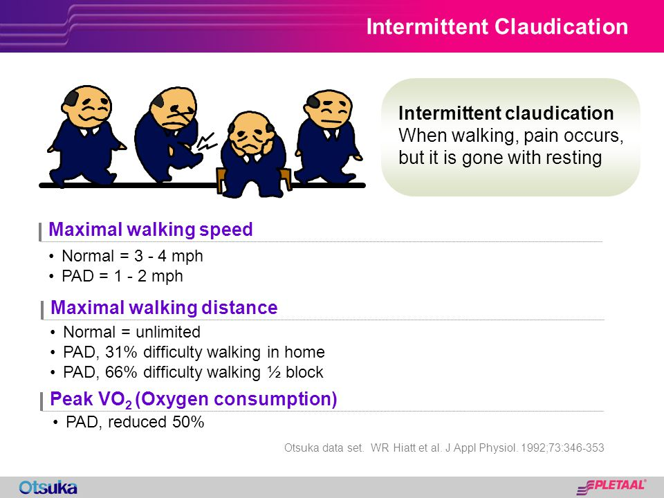 Intermittent Claudication Intermittent claudication When walking, pain occurs, but it is gone with resting Maximal walking speed Maximal walking dista